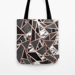 Modern Rose Gold Glitter Marble Geometric Triangle Tote Bag