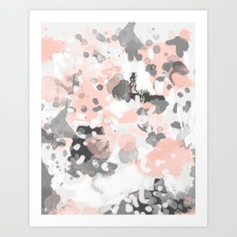 grey and millennial pink abstract painting trendy canvas art decor minimalist Art Print