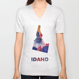 Idaho map outline Red blue brown watercolor painting Unisex V-Neck