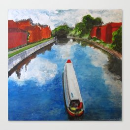 Longboat canal boat on river Canvas Print
