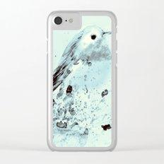 Robin in blue Clear iPhone Case