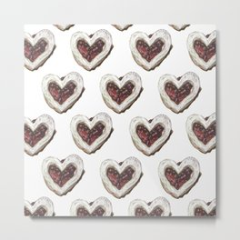 Valentine Heart Cookie Pattern Metal Print