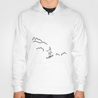 skiing Hoodies featuring snowboarder skiing winter sports by Lineamentum