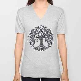 Tree of Life Silver Unisex V-Neck