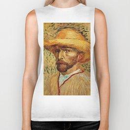 Van Gogh, Self-Portrait with Straw Hat, – Van Gogh,Vincent Van Gogh,impressionist,post-impressionism Biker Tank