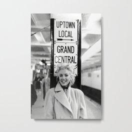 Mari-lyn Monroe Grand Central , Gift, Home Decor, photography, American icon, actress, Vintage poster, print, Metal Print
