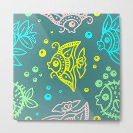 Fishes Batik Style Seamless Pattern Metal Print