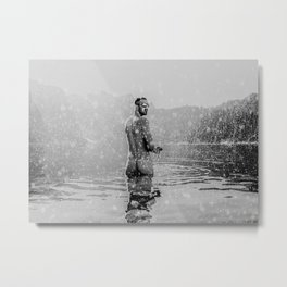 Alpine Snow Lake Nude Metal Print