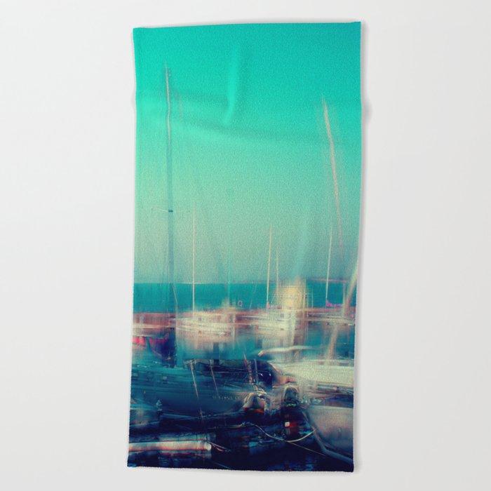 Sailing Harbor at Lake Balaton Beach Towel