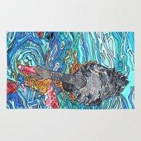 black swan Area & Throw Rugs featuring Black Swan by Juliana Kroscen