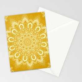 Boho Mustard Yellow Mandala Flower Stationery Cards