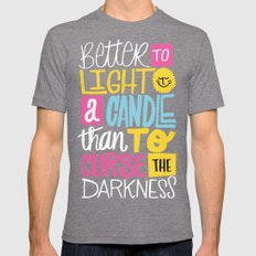 LIGHT A CANDLE SMALL Tri-Grey Mens Fitted Tee