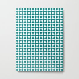 Small Diamonds - White and Dark Cyan Metal Print