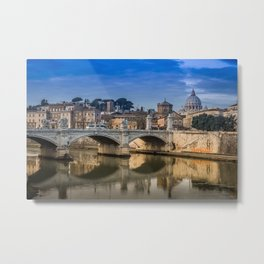 Tiber bridge in Rome with the Vatican City in the background Metal Print