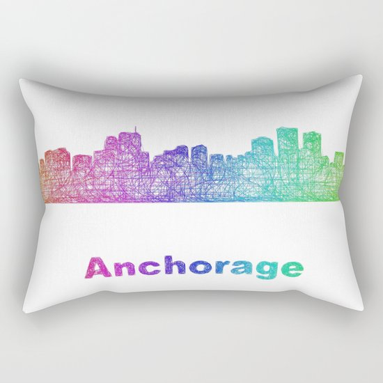 Rainbow Anchorage skyline Rectangular Pillow