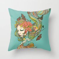 geisha Throw Pillows featuring Geisha by Huebucket