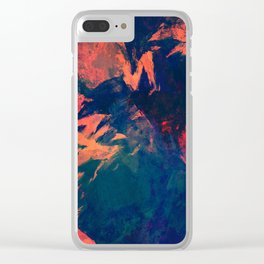 Stormy Kiss - abstract vintage painting Clear iPhone Case