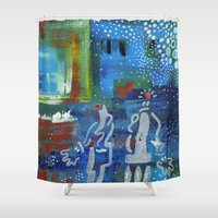 couple Shower Curtains featuring Couple by Nathalie Gribinski