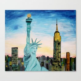 Statue of Liberty with view of NEW YORK Canvas Print