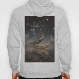 Crow in a boat at the river magical night Hoody