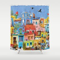 mexico Shower Curtains featuring Mexico by Francesca Sacco