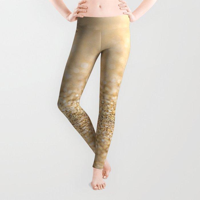 b318f2184c4fb1 Beautiful champagne gold glitter sparkles Leggings by pldesign ...
