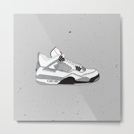 Jordan 4 White Cement Metal Print