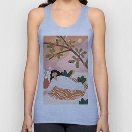 Laying under the full moon Unisex Tank Top
