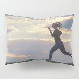Running woman morning workout. Female Runner. Jogging during sunrise. Workout in a Park. Sporty Pillow Sham