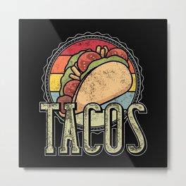 I Love Tacos - Cinco De Mayo - Vintage Taco Day Metal Print
