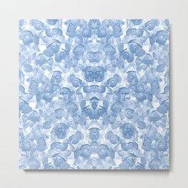 Blue Floral Seamless Pattern Metal Print