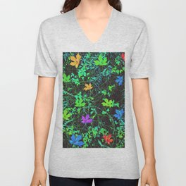 maple leaf in pink blue green orange with green creepers plants Unisex V-Neck