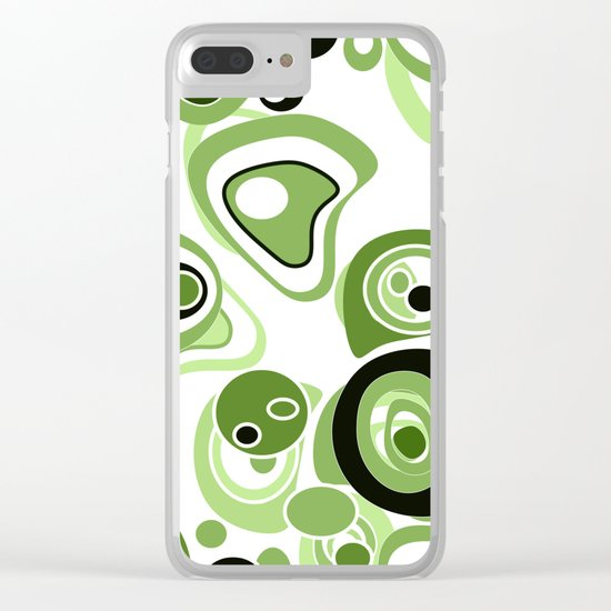 Abstract pattern . Black and green circles and rings on a white background . Clear iPhone Case