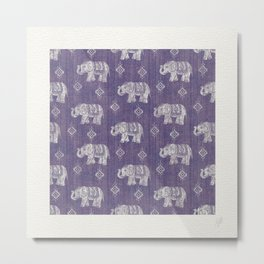 Elephants on Linen - Amethyst Metal Print
