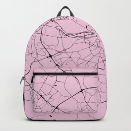 Black and Pink Dublin Street Map Backpack