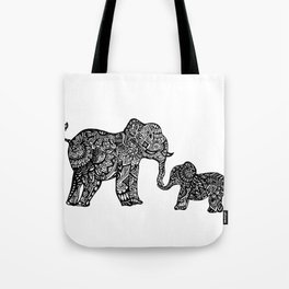 Mommy and Baby Elephant Tote Bag