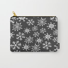 Snowflakes Pattern (Dark Gray) Carry-All Pouch