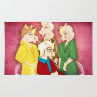 unicorns Area & Throw Rugs featuring Golden Unicorns by That's So Unicorny