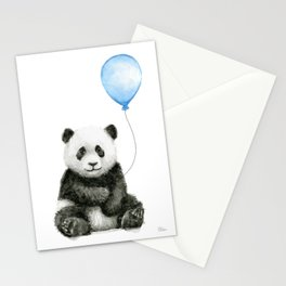 Panda Baby Animal with Blue Balloon Stationery Cards