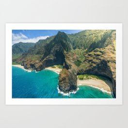 Aerial view Na Pali Coast, Kauai, Hawaii Art Print