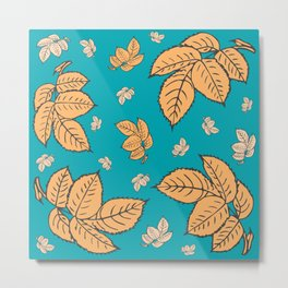 HAPPY LEAVES ON TURQUOISE (abstract tropical flowers) Metal Print