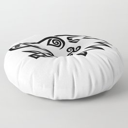 Boar Head Celtic Knot Black and White Stencil Floor Pillow