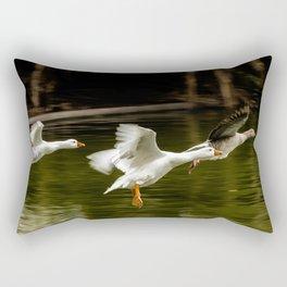 Landing of ducks on the lake of Palermo. Rectangular Pillow