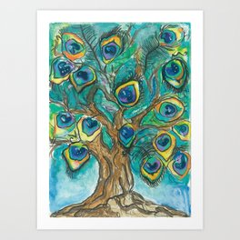 A Plummage of Possibility Peacock Tree Art Print