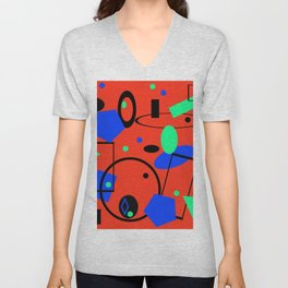 Retro abstract red print Unisex V-Neck