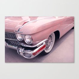 Vintage Peach Car | Blush Pink Art | Car Photography | Bedroom Art Canvas Print