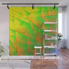 Abstract pattern of green and overlapping yellow triangles and irregularly shaped lines. Wall Mural