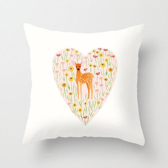Fawn Valentine Throw Pillow
