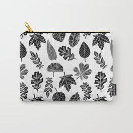 Linocut leaves fall autumn lino printmaking black and white decor art print trendy leaf pattern Carry-All Pouch