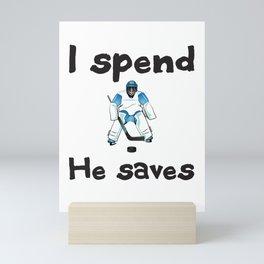 I spend.  He saves. Mini Art Print